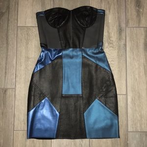 Nasty Gal Dresses - Real leather bustier strapless dress